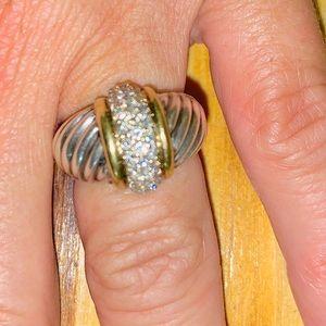 David Yurman Jewelry - David Yurman 18K & 925 Cable Ring with Diamonds